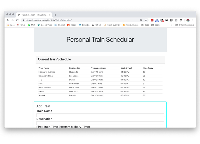Train Scheduler Website
